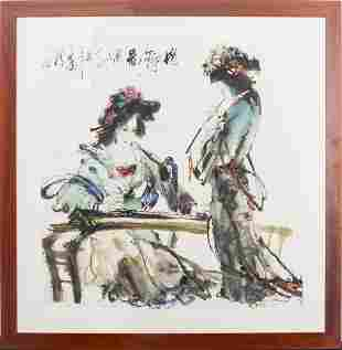 """Chinese School """"Two Women"""" Mixed Media on Paper"""