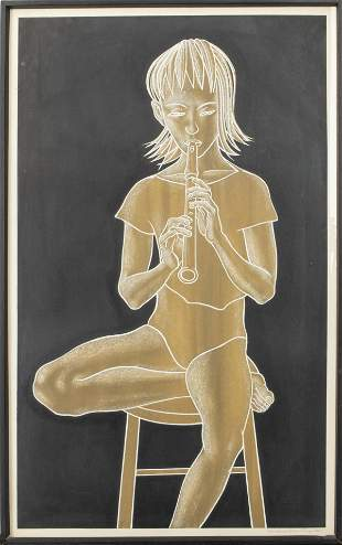 """Michael Martin """"Girl With Recorder"""" Lithograph"""