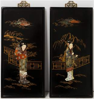 Chinese Lacquered Geisha Panels w Carved Stone, Pr