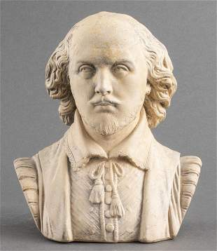 Pottery Bust Sculpture of William Shakespeare