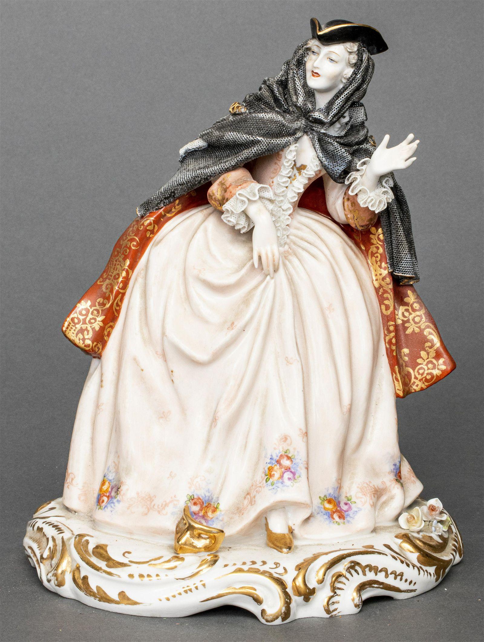 Italian Porcelain Figurine of 18th C. Woman