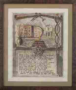 Watercolor on paper with Shakespearean Sonnet