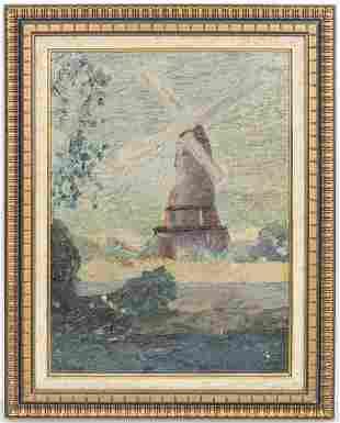 "S. Malbin ""Windmill"" Oil on Canvas"