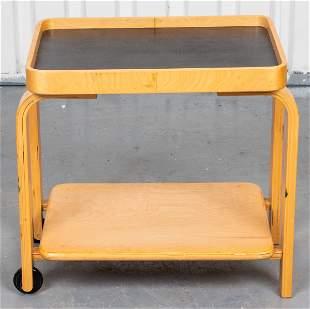Alvar Aalto Style Bentwood Rolling Serving Cart