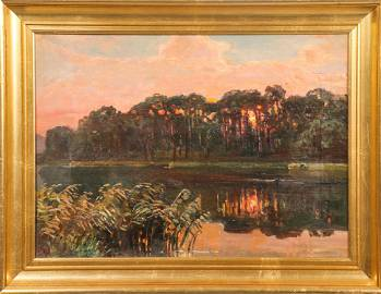 Impressionistic River Sunset Oil on Canvas
