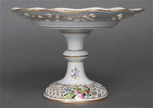 Dresden German Reticulated Porcelain Compote