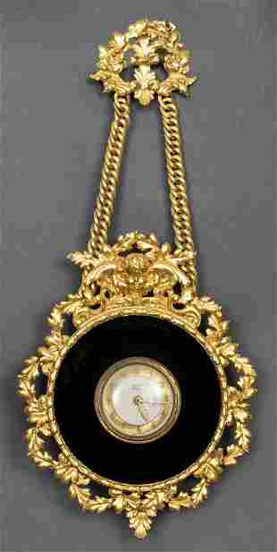 Bayard Gilt Bronze Pedant Clock with Velvet Trim