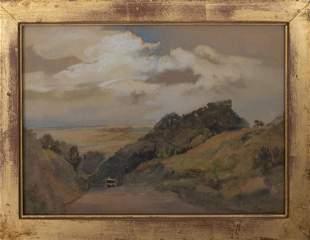 Ellerby Bank Landscape Watercolor on Paper