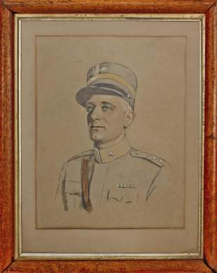 American Naval Portrait, Mixed Media Drawing