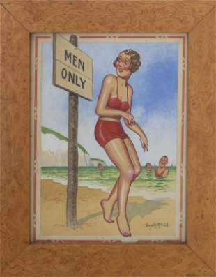 "Donald McGill, ""Men Only"" Original Watercolor"