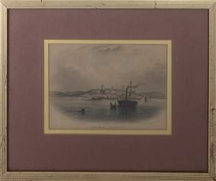 """R.T. Pentreath, """"Penzance From The Sea,"""" Engraving"""