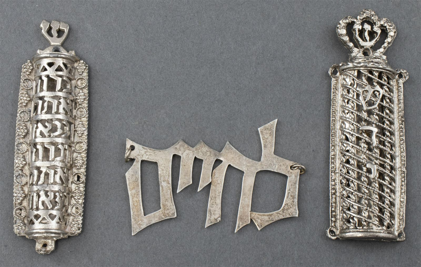 Judaica Sterling Silver Mezuzahs and Pendant, 3