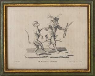 """1743 C. Huet, """"Le Maitre A Dancer,"""" Engraving"""