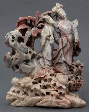 Chinese Carved Marble Figures Floral Landscape