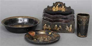 Group of Chinoiserie Lacquer & Paper Mache, 4