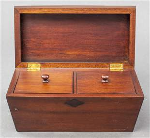 Modern Wood Two-Compartment Tea Caddy