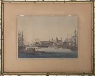 Antique Engraving of a Port City