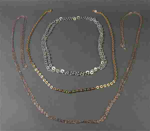 Sterling Silver Chain Link Necklaces, Group of 3