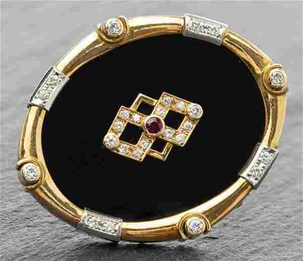 Antique 18K Yellow Gold Diamond, Ruby, Onyx Brooch