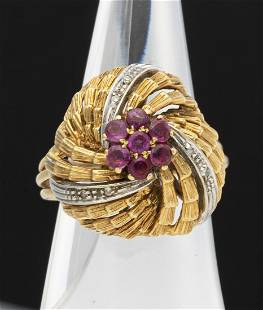 18K Yellow Gold Dome Ruby and Diamond Ring, Italy