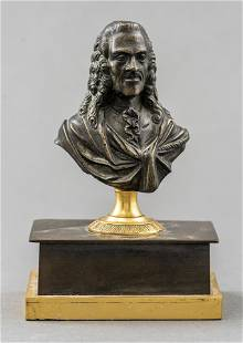 Grand Tour Patinated Bronze Bust of Voltaire