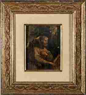 "Continental School ""St. Jerome"" Oil on Panel"