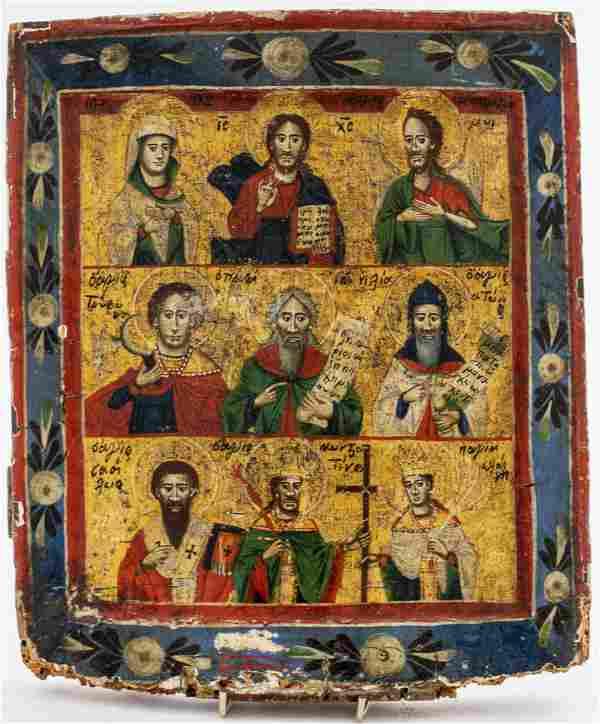"Greek Icon ""Holy Trinity & Saints"" 18th C."