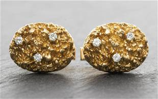 Vintage 14K Yellow Gold Oval Diamond Cufflinks