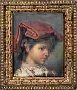 Continental School Portrait of a Girl Oil on Panel