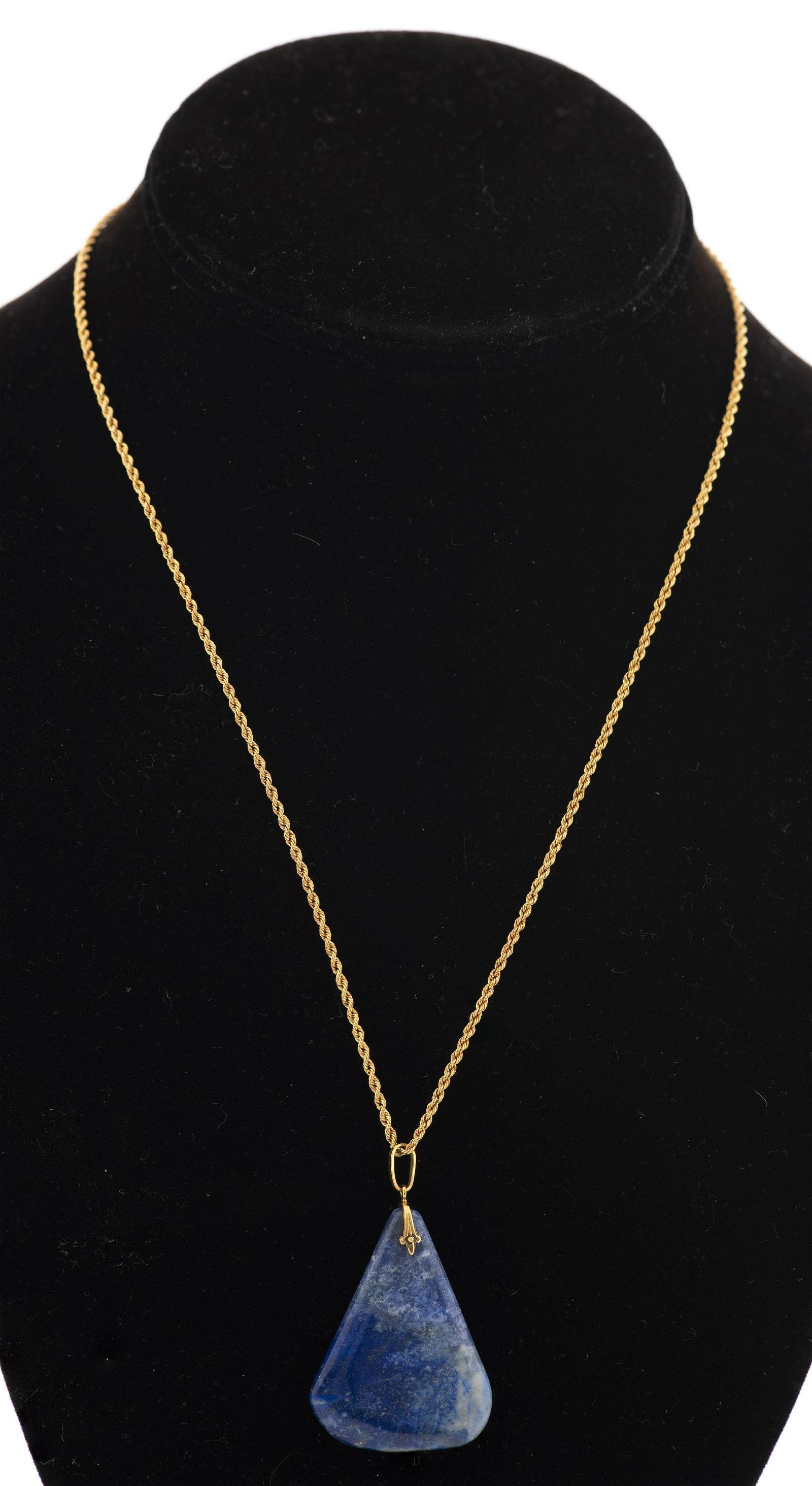 14K Yellow Gold Lapis Lazuli Pendant Necklace