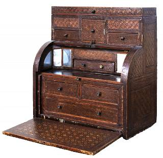 Continental Miniature Inlaid Rolltop Cabinet