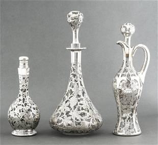 Alvin Mfg Art Nouveau Silver Overlay Decanters