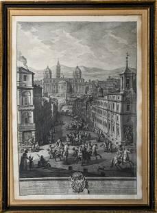 "Guiseppe Vasi Italian 18th C. ""Piazza"" Engraving"