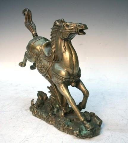Chinese Metal & Silver Horse Figure Qing Dynasty