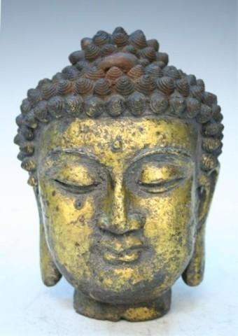 Chinese Ming Dynasty Gilt Iron Head of Buddha Bust