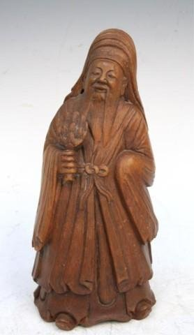 Chinese Bamboo Carved Figurine of Elder Man 19th C