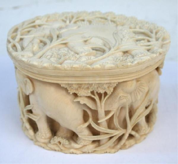 Carved Ivory Elephant Tusk Covered Circular Box