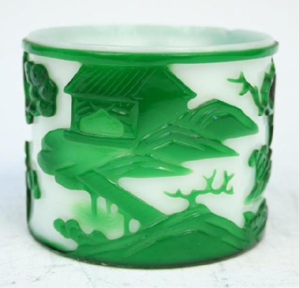 Chinese Peking Glass Brushpot & Overlay 19th C.