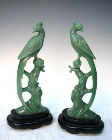 Chinese Green Jade Bird Pair 19th - 20th Century