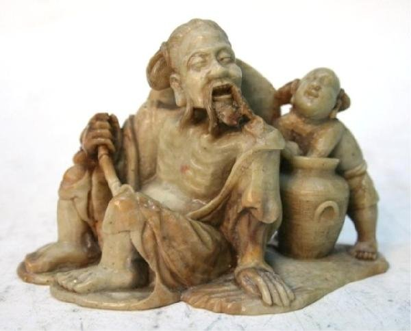 Chinese Soapstone Carving of Old Man & Boy 19th C