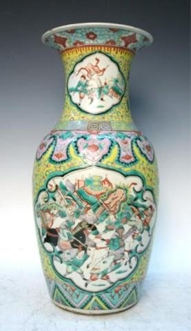 Chinese Yellow Ground Famille Rose Vase 19th C.
