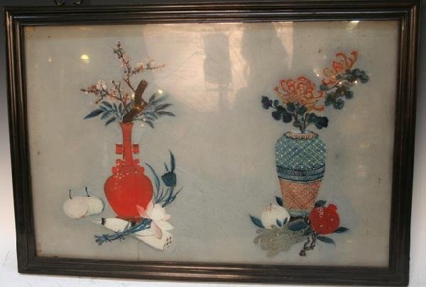 Chinese Reverse Glass Floral Painting 19th C