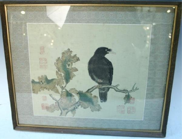 Chinese Painting on Linen of Bird & Flower 19th C