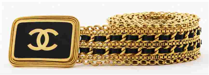Chanel Gold-Tone Link Belt With Logo Buckle