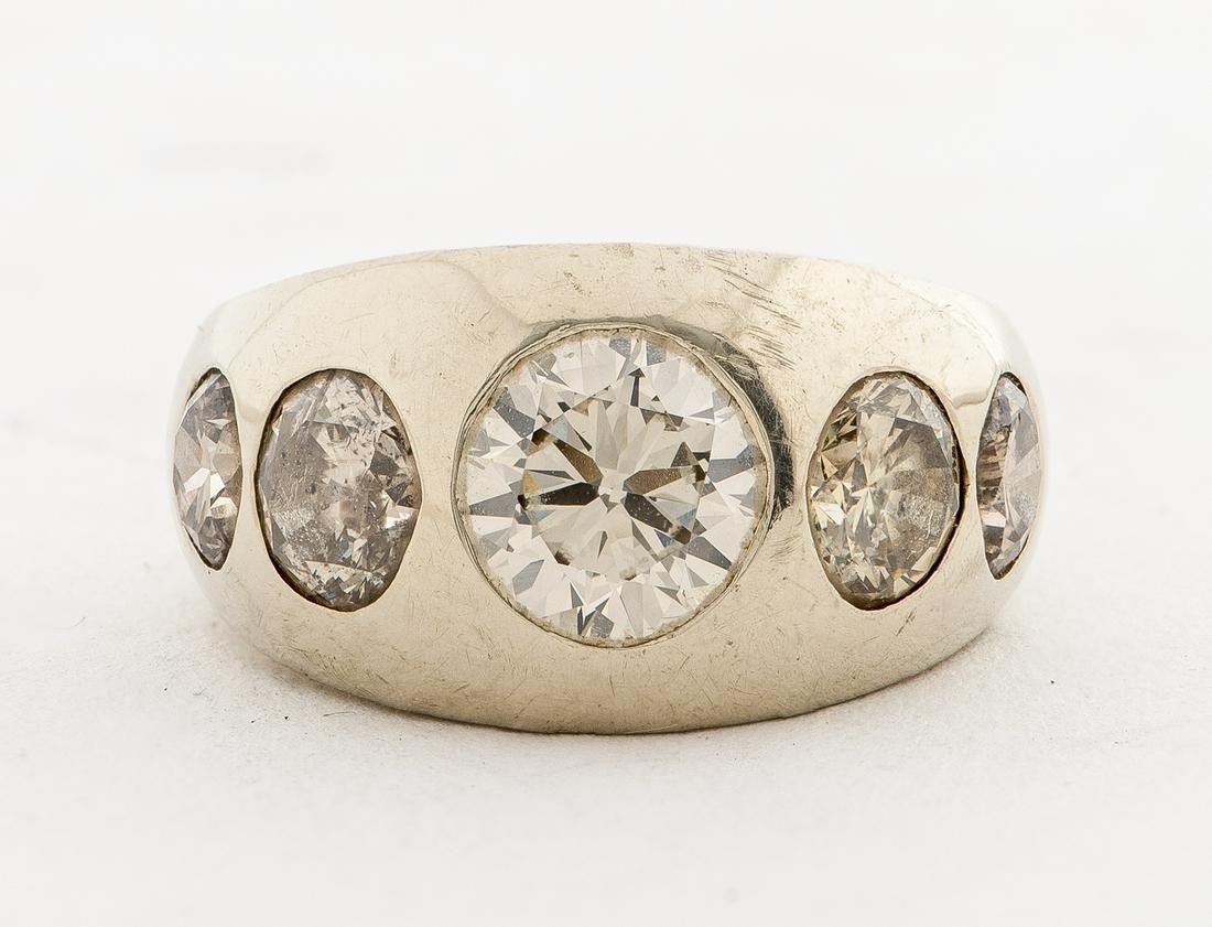 14K White Gold Five Diamond Gypsy Ring