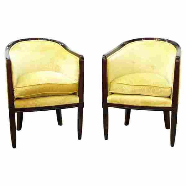 French Art Deco Tub Chairs, Pair
