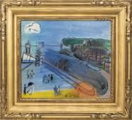 "Raoul Dufy ""Saint-Adresse"" Oil on Canvas, c. 1950"