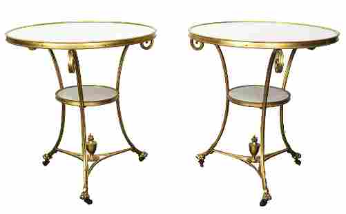 French Marble Top & Gilt Bronze Side Tables, Pair