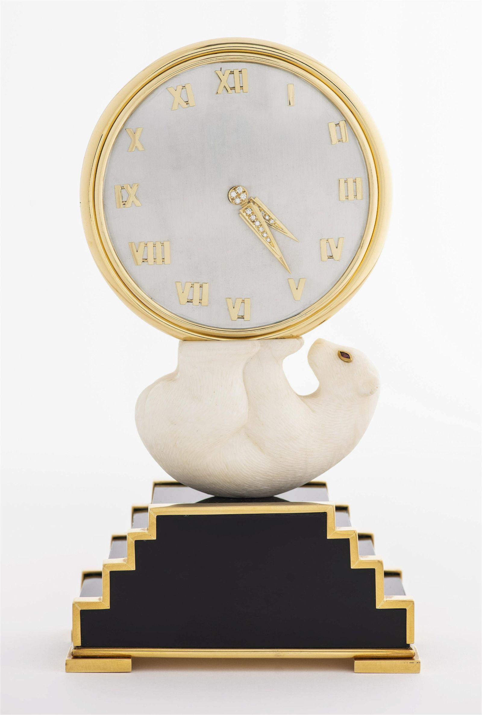 Rare Gem Set Gold Clock, Vacheron Constantin