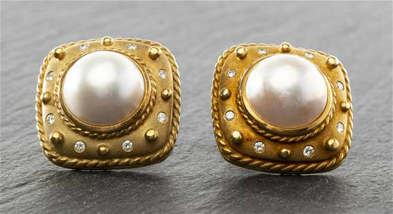 David Webb 18K Gold Mabe Pearl & Diamond Earrings